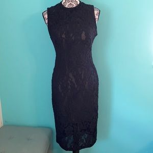 Marciano High Neck Lace Lined Fashion Dress